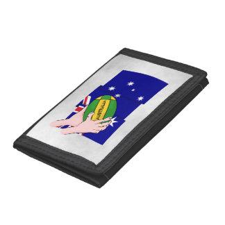 オーストラリアの旗のラグビーのボールの漫画手 ナイロン三つ折りウォレット