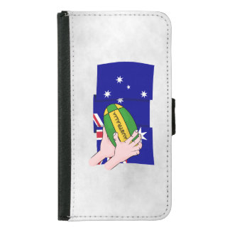 オーストラリアの旗のラグビーのボールの漫画手 GALAXY S5 ウォレットケース