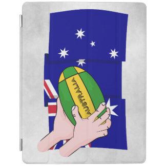 オーストラリアの旗のラグビーのボールの漫画手 iPadスマートカバー