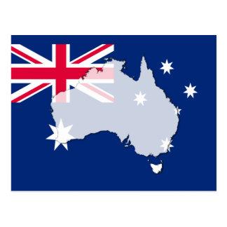 オーストラリアの旗の地図の輪郭の郵便はがき ポストカード