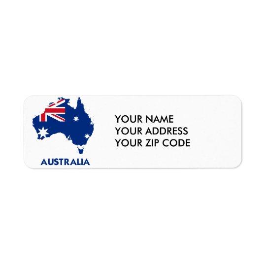 オーストラリアの旗の地図 ラベル