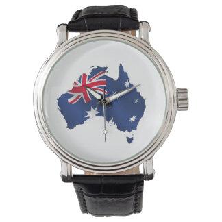 オーストラリアの旗の地図 腕時計