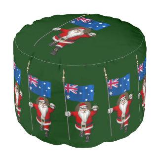 オーストラリアの旗を持つサンタクロース プーフ