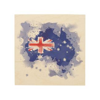オーストラリアの水彩画の地図 ウッドウォールアート