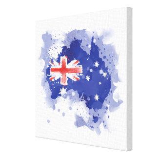 オーストラリアの水彩画の地図 キャンバスプリント