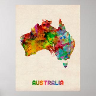 オーストラリアの水彩画の地図 ポスター