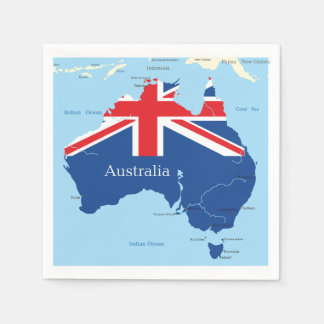 オーストラリアの紙ナプキンの地図 スタンダードカクテルナプキン