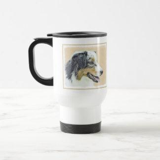 オーストラリアの羊飼いの絵画-元の犬の芸術 トラベルマグ