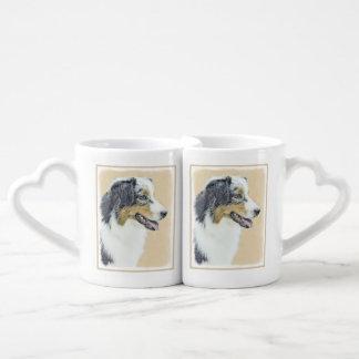 オーストラリアの羊飼いの絵画-元の犬の芸術 ペアカップ
