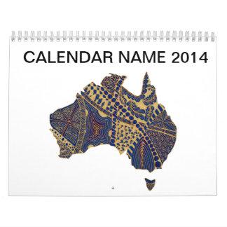 オーストラリアの落書きのタンの赤い青 カレンダー
