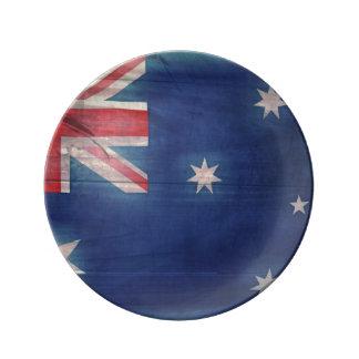 オーストラリアのWoodgrainの旗のデザートプレート 磁器プレート