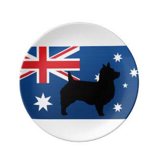 オーストラリアンテリアのシルエットのオーストラリアの旗 磁器プレート