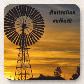 オーストラリア人の奥地に風車の日没のコースターセット コースター