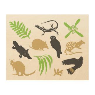 オーストラリア動物の壁の芸術の緑 ウッドウォールアート