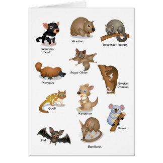 オーストラリア動物の挨拶状 カード