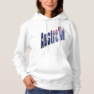 オーストラリア次元のロゴ、女性白のフード付きスウェットシャツ パーカ
