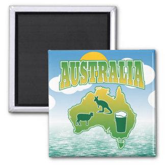 オーストラリア-ヒツジカンガルーおよびビール マグネット
