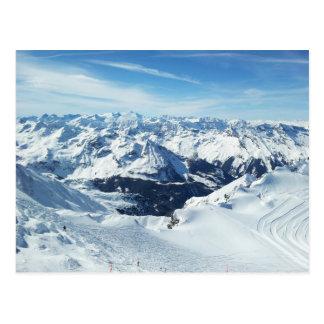 オーストリアのスキー山旅行アルプスの雪の景色 ポストカード
