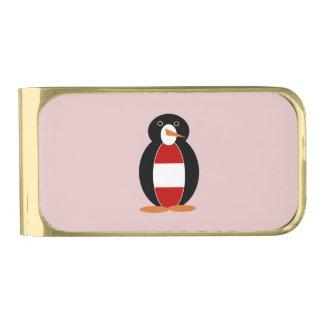オーストリアのペンギン 金色 マネークリップ