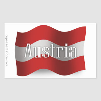 オーストリアの振る旗 長方形シール