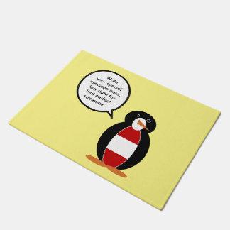 オーストリアの旗の話すペンギン ドアマット