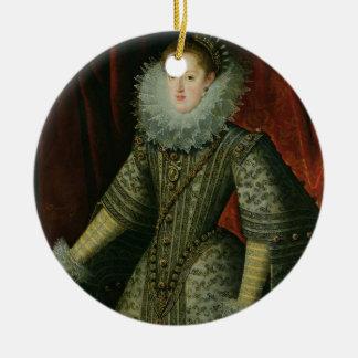 オーストリア1609年のマルガリータ女王(キャンバスの油) セラミックオーナメント
