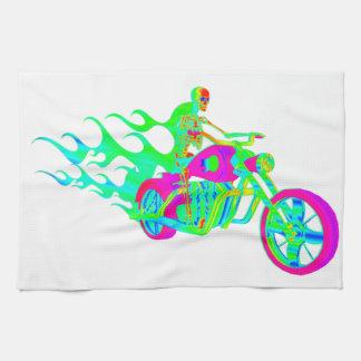 オートバイに乗る骨組 キッチンタオル