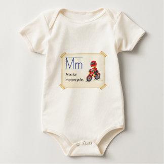 オートバイのための手紙M ベビーボディスーツ