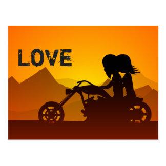 オートバイのカップル愛山 ポストカード