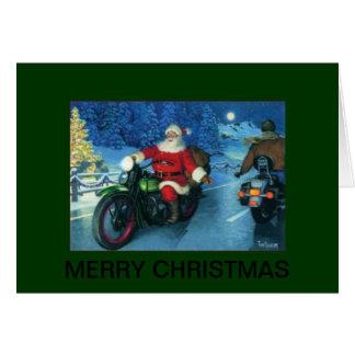 オートバイのクリスマスカードのサンタ カード