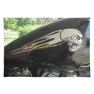 オートバイのスカルの銀 ランチョンマット