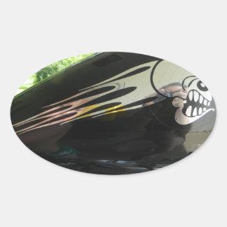 オートバイのスカルの銀 楕円形シール