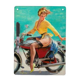 オートバイのピンナップの女の子-レトロのピンナップの芸術 ホワイトボード