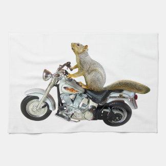 オートバイのリス キッチンタオル