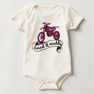 オートバイの不機嫌及び泥 ベビーボディスーツ