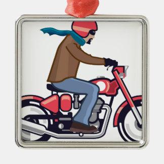 オートバイの男 メタルオーナメント
