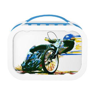 オートバイの高速自動車道路平らなトラックの昼食 ランチボックス