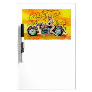 オートバイのPopartの女の子 ホワイトボード