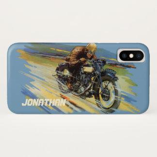 オートバイを競争させるヴィンテージ旅行交通機関 iPhone X ケース