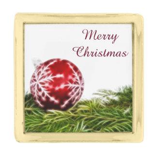 オーナメントおよびもみのフラクタル-メリークリスマス 金色 ラペルピン