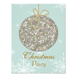 オーナメントおよび雪片を持つクリスマスの招待状 10.8 X 14 インビテーションカード