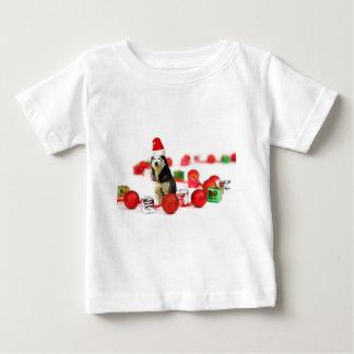 オーナメントのギフト用の箱とのシベリアンハスキーのクリスマス ベビーTシャツ