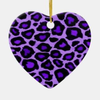 オーナメントのハート-紫色のヒョウ 陶器製ハート型オーナメント