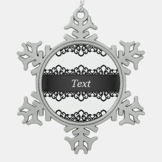 オーナメントのレースの刺繍のデザイン スノーフレークピューターオーナメント