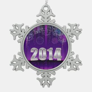 オーナメントの明けましておめでとう2014年 スノーフレークピューターオーナメント