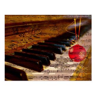 オーナメントの素朴なピアノの教師のクリスマスの郵便はがき ポストカード