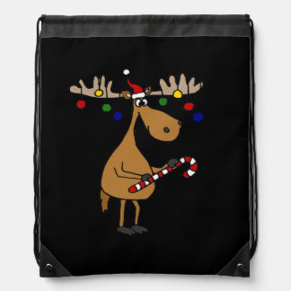 オーナメントを持つおもしろいなクリスマスのアメリカヘラジカ ナップサック
