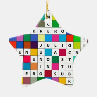 オーナメントスペインのな月のクロスワードパズルのデザインの セラミックオーナメント