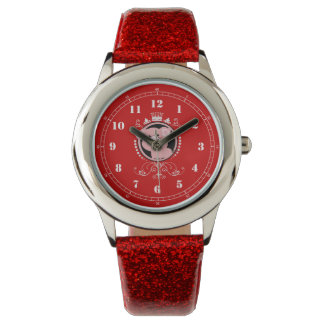 オーナメントパターンを持つピンクのブタ 腕時計
