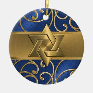 オーナメント青および金ゴールドのダビデの星 セラミックオーナメント